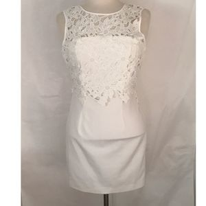 Forever 21 Floral Lace Sheath Dress White Small